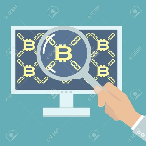 65090199 hand mit lupe analyse bitcoin vektor illustration auf computer blockchain technologie digitale währung 1 آموزش بلاک چین با فرهاد مقدم سلیمی